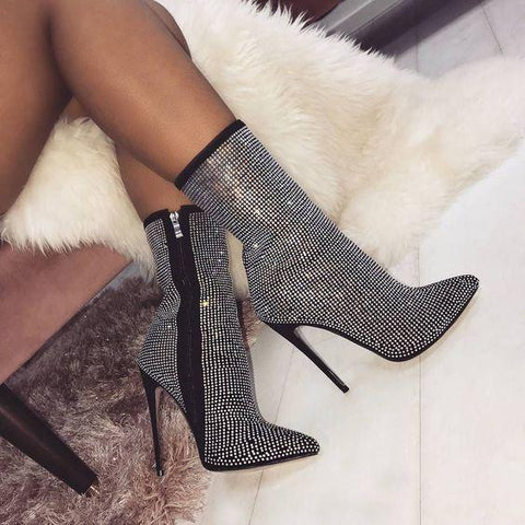 Diamonds Zipper Pointed Toe High Heels Shoes