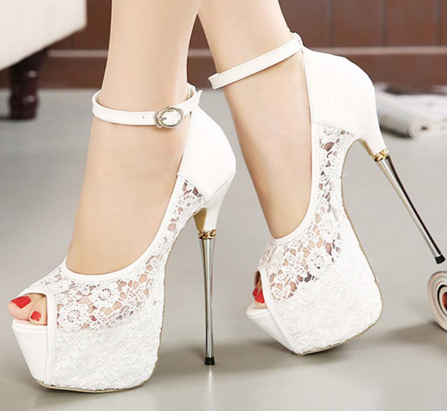 Lace Ankle Strap Women Fashion Platform Peep Toe High Heels Shoes