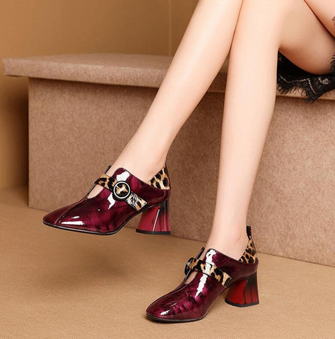 Shoes Woman High Heels Women Pumps Square Toe Leopard Pattern Buckle Thick Heel British Female Patent Leather