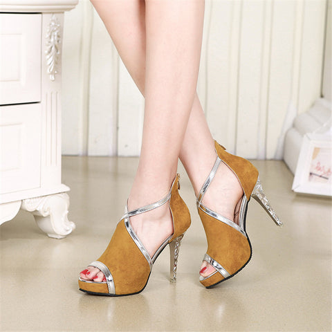 Hollow Zip Platform Women's Shoes Patchwork Ankle Strap Flock Fight Color Peep Toe Fine With High Heels Young Daily Shoes