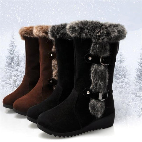 New Women Boots Casual Warm Fur Boots Shoes Women Slip-on Round Toe Wedges Snow Boots Shoes