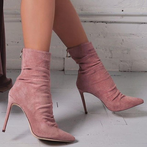 Solid Color Women Fashion Pointed Toe Zipper High Heels Shoes