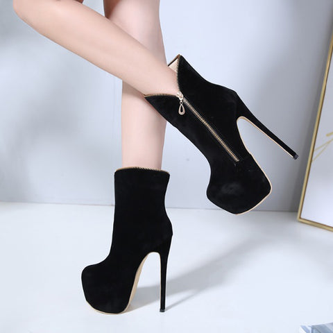 Black Ankle Boots Round Toe Zip Platform High Heels Stiletto Heels Ladies Party Shoes Women Boots