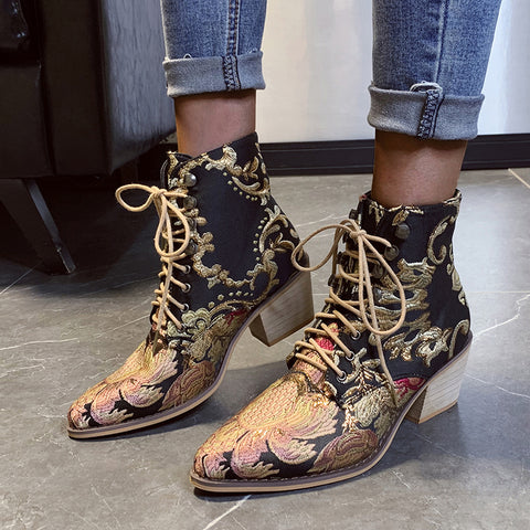 Women Ankle Boots Retro Riding Equestr Shoes Boots Artificial Leather Warm Shoes High Heel Embroidery Snake