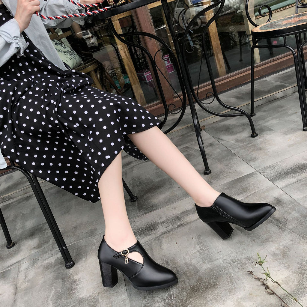 Women Shoes Pu Leather Pointed Toe High Heel Solid Mom Shoes Zipper Wedding Female Pumps Boots
