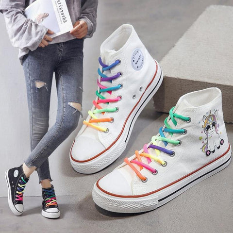Women Vulcanized Shoes Cartoon Rainbow Lace Canvas Shoes Women Platform Flat High Top White Ladies Casual Sneakers