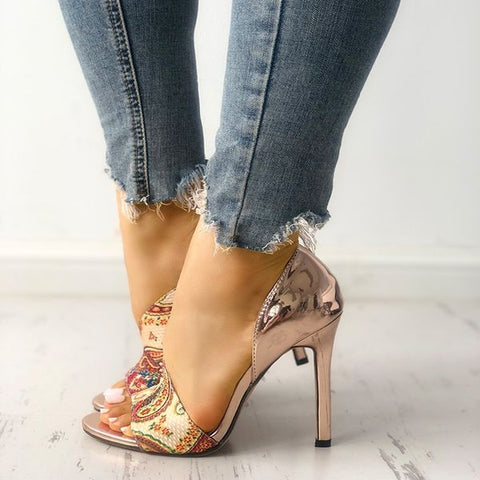 Women High Heels Pumps Sandals Woman Fashion Sexy Female Peep Toe High Heeled Shoes Open Toe Ethnic Print Party Sandals