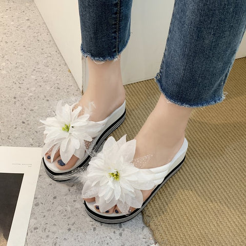 Women Sandals Flowers Slippers Flip Flops Slippers Womans Platform Women Shoes Dames Slide Wedge Heel Thick Beach Slipper