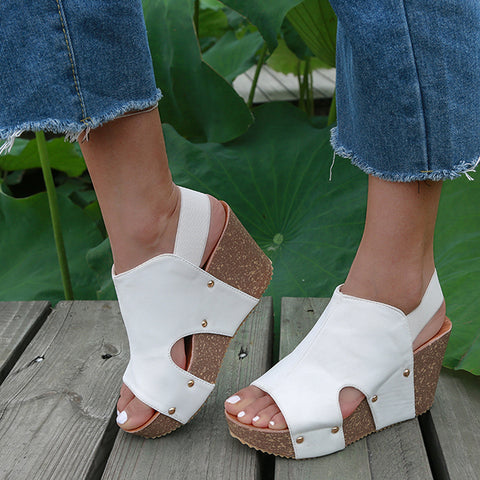 New Women Sandals Ladies Open Toe Casual Shoes Platform Wedge Slides Beach Leather Wedge Heels Sandals Femmes Shoes