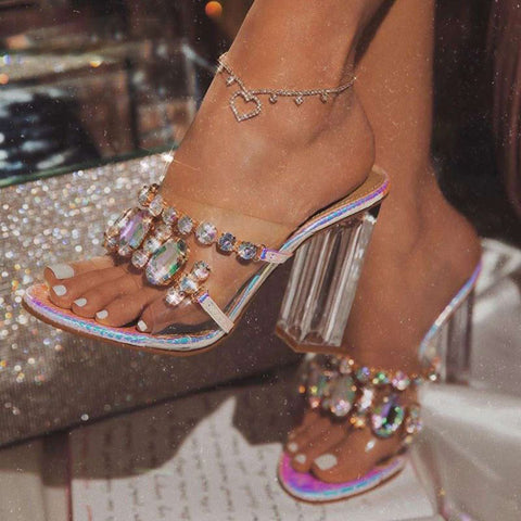 Women Sandals Fashion Rhinestone Crystal Women Shoes Open Toe Perspex High Heels Sandals Party Pumps