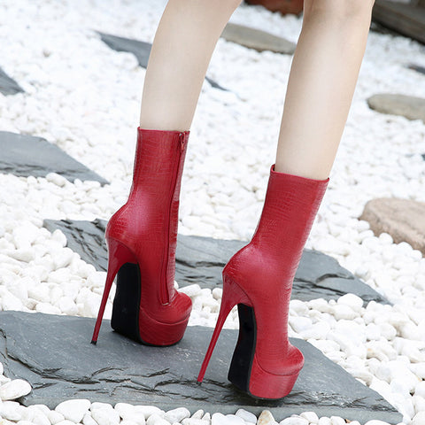 Women Boots High Heels Fashion Shoes Woman Platform Leather Zipper Boots Ladies Shoes Female