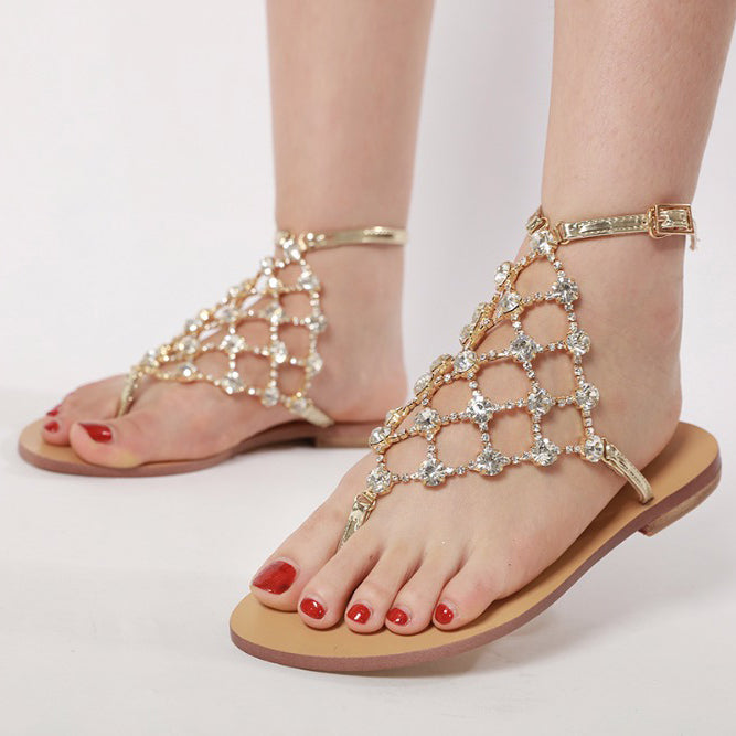 Fashion Women Flat Heels Sandals Hollow Out Flip Flop Beach Sandals Crystal Rhinestone Buckle Strap Party Sandals