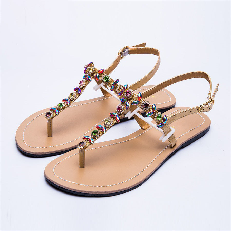 New Women`s Diamond Sandals Women Beach Rhinestone Shoes T-strap Thong Flip Flops Comfortable Peep Toe Shoes