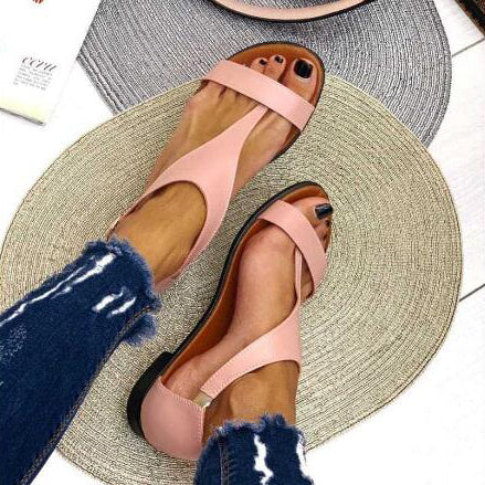 Beach Flats Sandals Casual Shoes Woman Open Toe Gladiator Slip On Sandalias