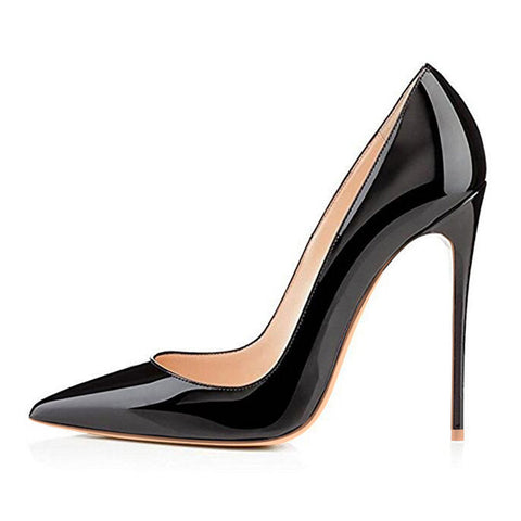 Women Pumps High Heels Black Patent Leather Pointed Toe Sexy Stiletto Shoes Woman