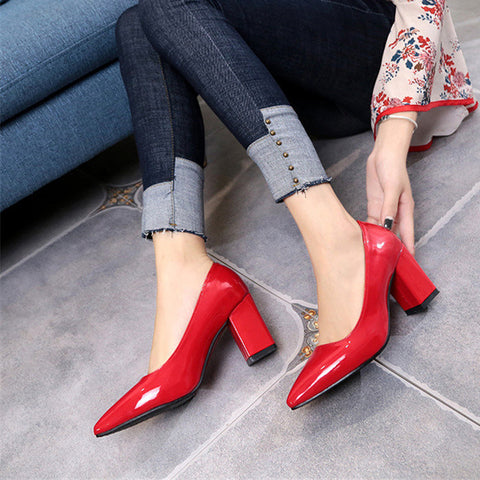 Women's High Heels Sexy Bride Party Mid Heel Pointed Toe Shallow Mouth High Heel Shoes Women Shoes
