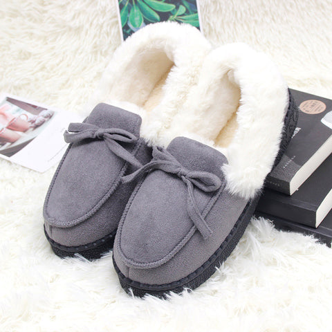 Slippers Shoes Bowtie Plush Warm Inside Casual Loafers Indoor Home Slippers Slip On Shoes