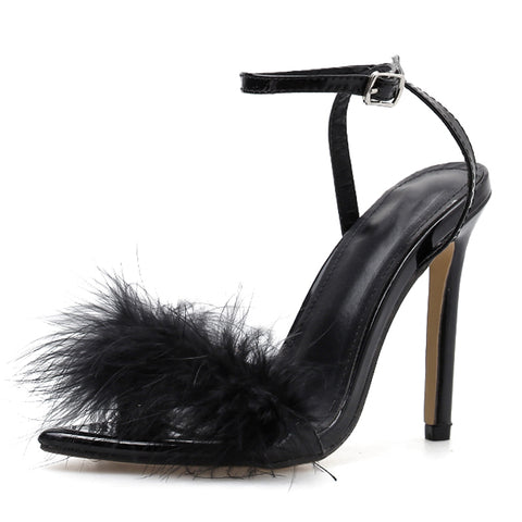New Sandals Thin High Heels Buckle Strap Feather Sandals Pointed Peep Foe Fur Party Female Shoes