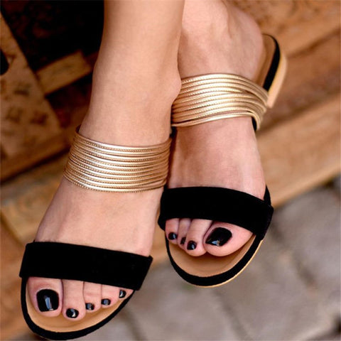 New Women Flat Slippers Hot Retro Non-slip Slippers Flock Ladies Party Office Shoes Beach Sandals