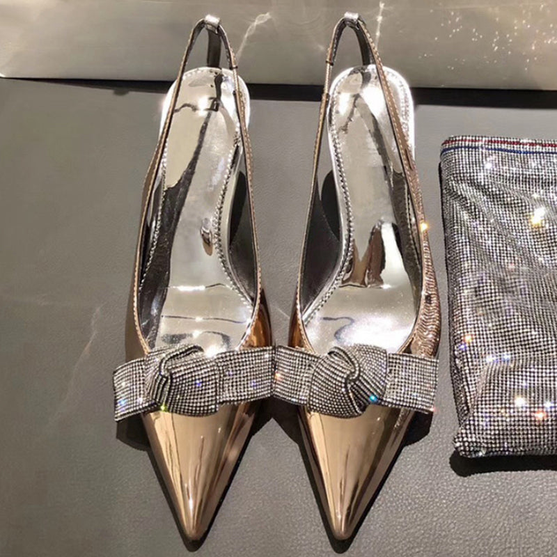 New Women Sandal Women Bling Rhinestones Butterfly-knot Party Pump Shoes Elegant High Heel Wedding Shoes