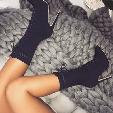 Women Fashion Ankle Boots Pointed Toe Stiletto Heel Shoes Stretch Lace Up High Heel