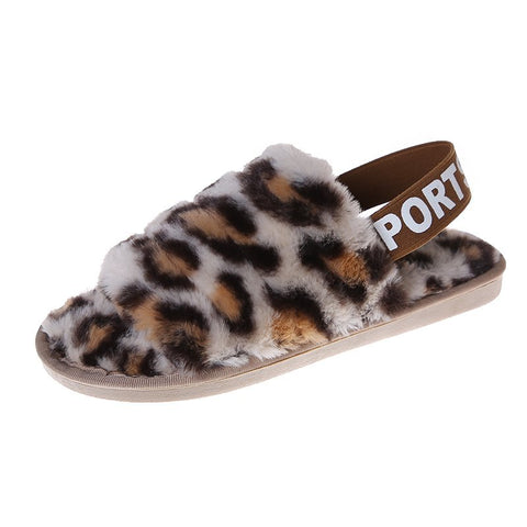 Outdoor Slipper Back Strap New Fashion Leopard Print Warm Floor Slippers For Women Open-toe Ladies Slippers