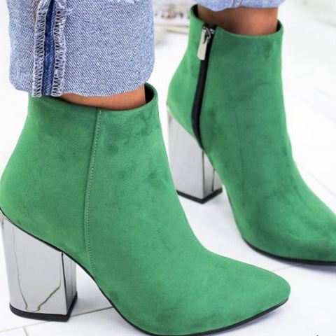 Pointed Toe Girl Boots Flock Solid Solid Boots New High Shoes
