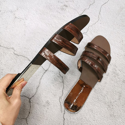 Stripe Fashion Flat Bottom Ladies Slides Outside Wear Fashion Woman Shoes Soft Leather Open Toe Sandals