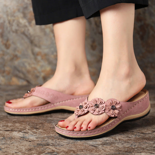 Women Sandals Flower Wedge Ladies Open Toe Casual Shoes Platform Flip Flops Wedge Slides Beach Shoes Woman Sandalia
