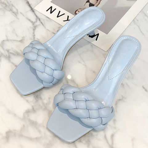 New Design Weave Women Slipper Ladies Thin High Heel Sandal Open Toe Slip On Outdoor Slides Flip Flop Shoe