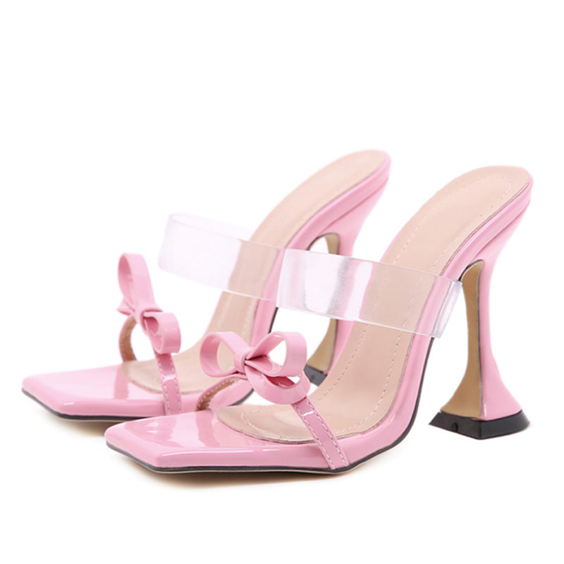 New Women Pumps Square Toe Bow-knot Ladies Slippers Transparent Thin Heels Female Shoes Fashion Woman Dress Shoes