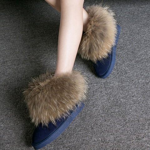Women Boots Genuine Leather Real Fox Fur Shoes Warm Round Toe Casual Female Snow Boots De