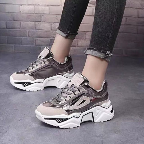 Platform Chunky Sneakers Lace-up Casual Vulcanize Shoes  Fashion Sneakers