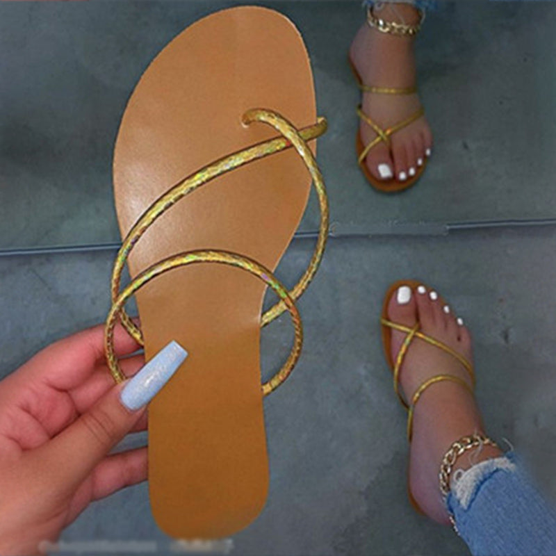 Flip Flops Flat Slides Women Shoes Narrow Band Slip On Non Slip Casual Fashion Ladies Slippers Female