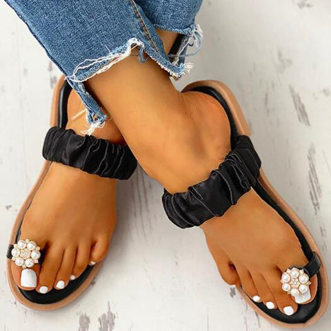 Ladies Sandals Casual Sandals Women's Flat Toe Pineapple Pearl Casual Shoes Flat Beach Sandal Slippers Sandalia