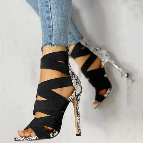 Shoes Woman Pumps High Thin Heels Pointed Toe Rhinestone Gladiator Pumps Party Sexy Shoes Prom Shoes