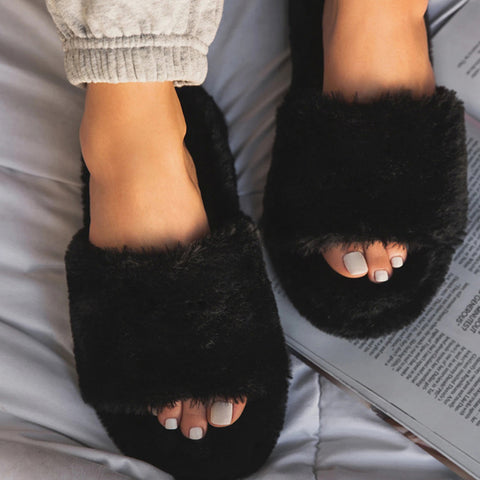 New Women Slip On Suede Slippers Open Toe Women Home Slippers Winter Fluffy Furry Slippers Women Flat With Fur Slides