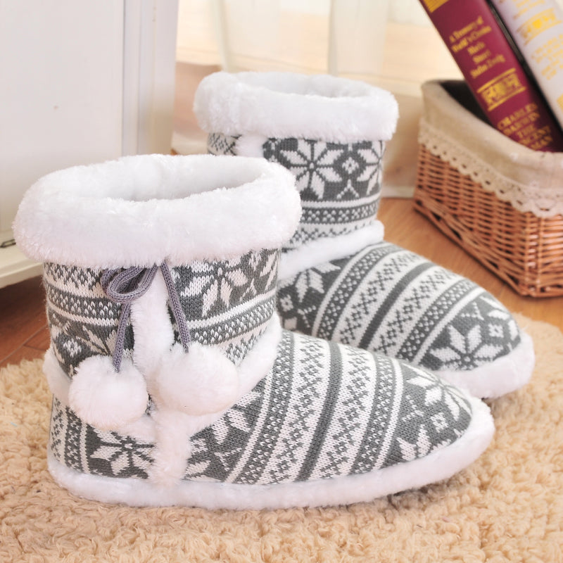 Plush Slippers Knit Wool Home Slippers Soft Warm Cute Ball Slippers High Quality Indoor Shoes