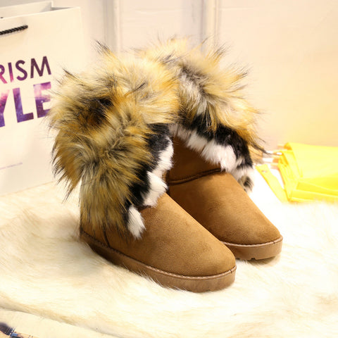 Fashion Faux Fox Hair Women's Boots New Ankle Boots Ladies Snow Boots The Tube Cotton Boots Comfortable Warm Women Boots