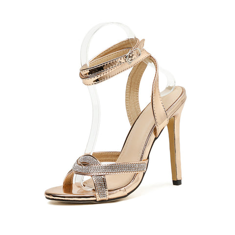 Women Shoes Peep Toe Ankle Strap Stilettos High Heels Sandals Wedding Party Shoes Glitter Rhinestone Sandals