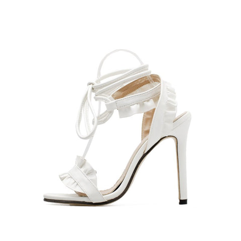 Top Sale Sandals Women's Sandals Fish-mouth Lace Crossed High Heeled Shoes