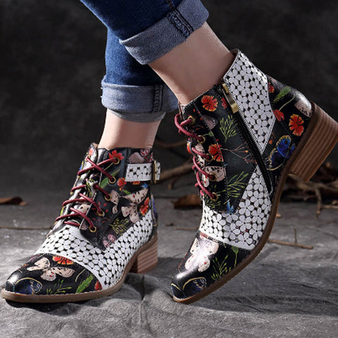 Boots Women Ink Painting Flower Pattern Cow Sexy Ankle Boots For Women Leather Boots Splicing Lace Up Stitching