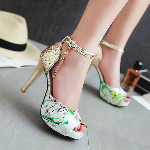 Women Pumps High Heels Bling Stiletto High Heel Party Shoes Fringe Peep Toe Ankle Strap Shoes Flower