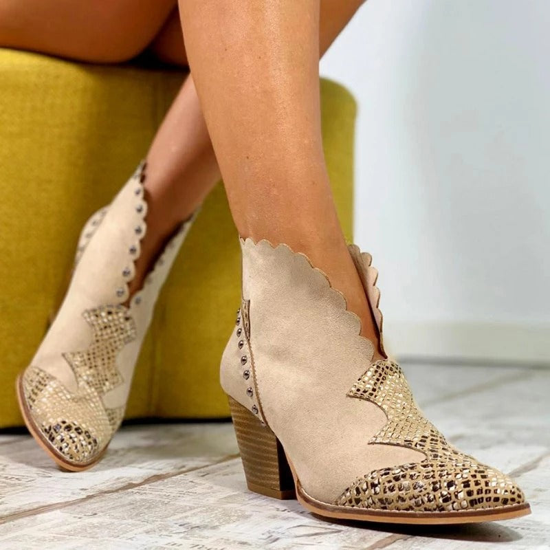 Lace PU Leather Cowboy Ankle Boots Rivet Wedge High Heel Booties Snake Print
