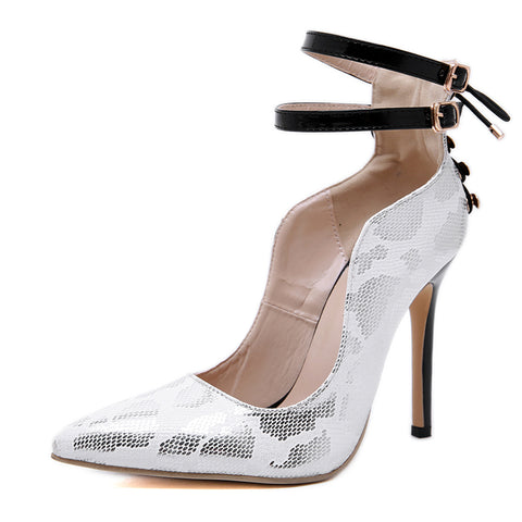 New Design Rivet Serpentine Sandals Fashion Pointed Toe Buckle Strap Thin Heel Woman Shoes
