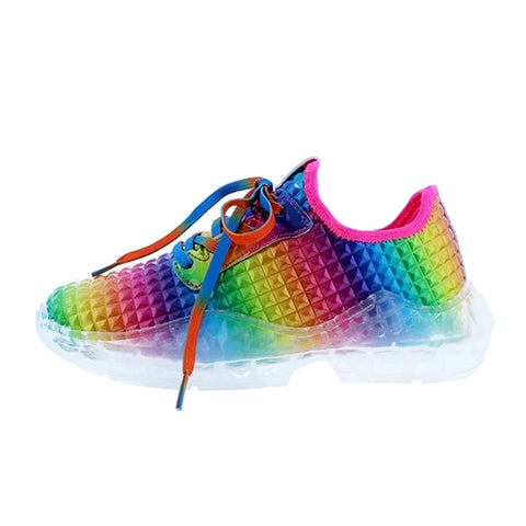 Women's Rainbow Sneakers Women Sequins Vulcanized Lace Up Casual Platform Shoes Female Footwear Ladies