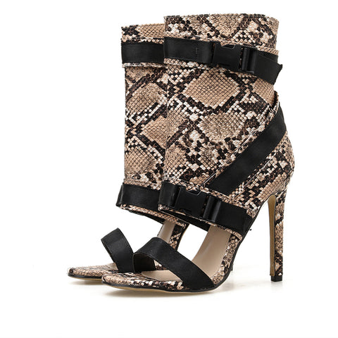New Design Serpentine Sandals Women's Shoes Stilettos Heels Sexy Open Toe Hollow Buckle Strap Zip Ankle