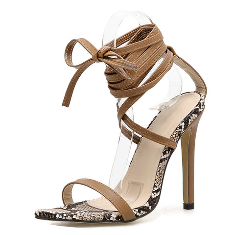 Serpentine Women Shoes Peep Toe High Heels Sandals Party Dress Shoes Cross Strap Ankle Buckle Sandals Pumps