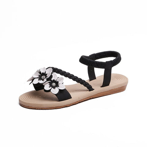 Shoes Woman Sandals Elastic Ankle Strap Flat Sandalias Flowers Gladiator Beach Sandals Ladies Flip Flops