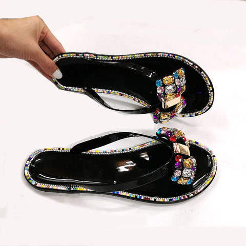 Women Flip-flops Big Diamond Lady Slippers Flash Drilling Colored Crystal Beach Shoes Flat Female Footwear
